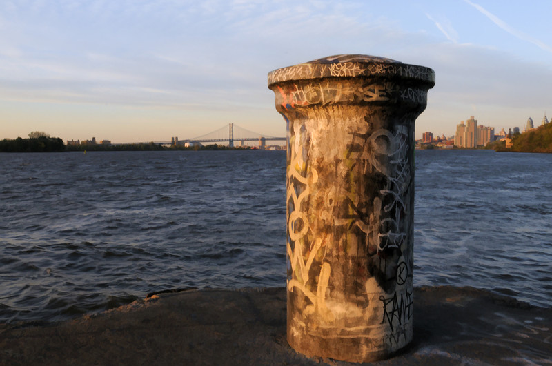 Bollard and Ben Franklin Bridge
