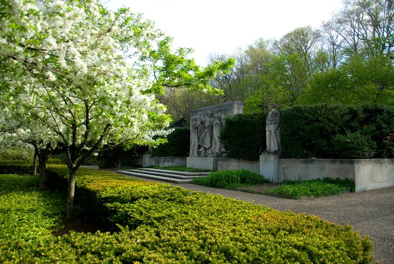 Public Art along the Schuylkill River, Philadelphia, PA<br /> Ellen Phillips Samuel Memorial Sculpture Garden - Henry Kreis (1899-1963),<br /> The Birth of a Nation (1943) (L), Erwin Frey (1892-1967), The Revolutionary Soldier (R)