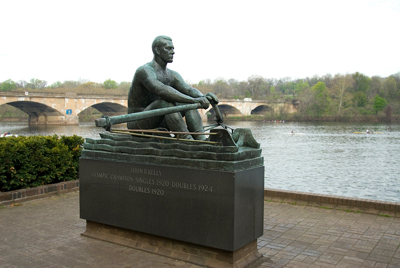 Public Art along the Schuylkill River, Philadelphia, PA<br /> John B. Kelly, Olympic Champion (The Rower) (1965), Harry Rosin (1897–1973)