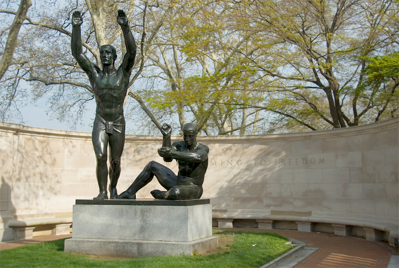Public Art along the Schuylkill River, Philadelphia, PA<br /> Ellen Phillips Samuel Memorial Sculpture Garden - Maurice Sterne (1878-1957),<br /> Welcoming to Freedom (1939)