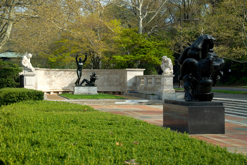 Public Art along the Schuylkill River, Philadelphia, PA<br /> Ellen Phillips Samuel Memorial Sculpture Garden - In the background Helene Sardeau (1899-1968), The Slave (1940) (L), Maurice Sterne (1878-1957), Welcoming to Freedom (1939) (C), Heinz Warneke (1895-1983), The Immigrant (1940) (R) and Jacques Lipchitz (1891-1973), The Spirit of Enterprise (1950-1960) in the foreground