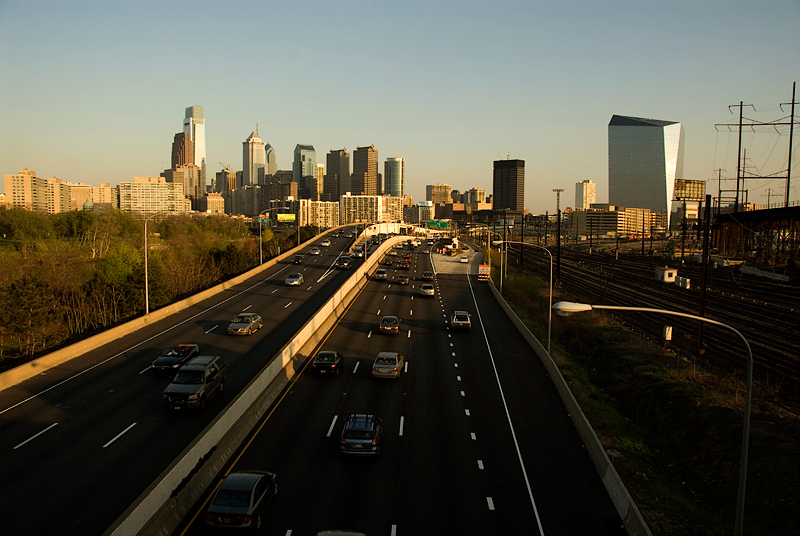 Philadelphia Skyline with Schuylkill Expressway and Amtrak tracks in foreground
