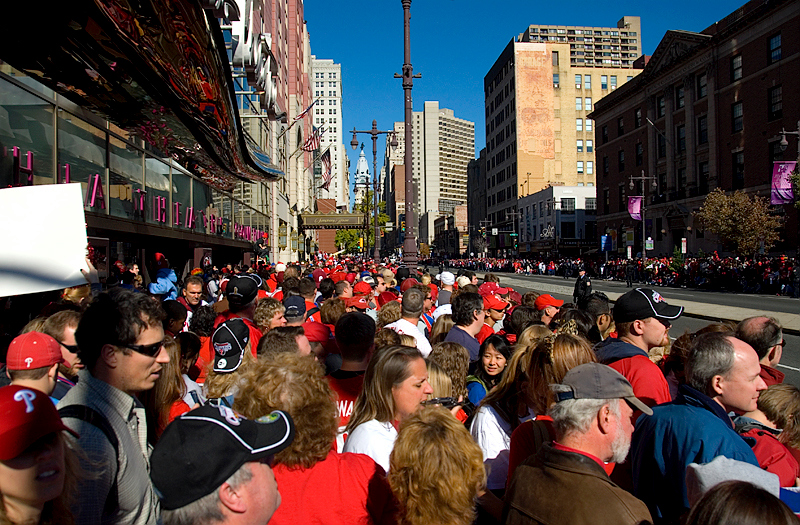 Philadelphia Phillies World Series Victory Parade 2008, Philadelphia, PA. Some of the 3,000,000 Phillies fans lining the Parade, here at Broad and Lombard in Center City Philadelphia, here in front of the Suzanne Roberts Theater.
