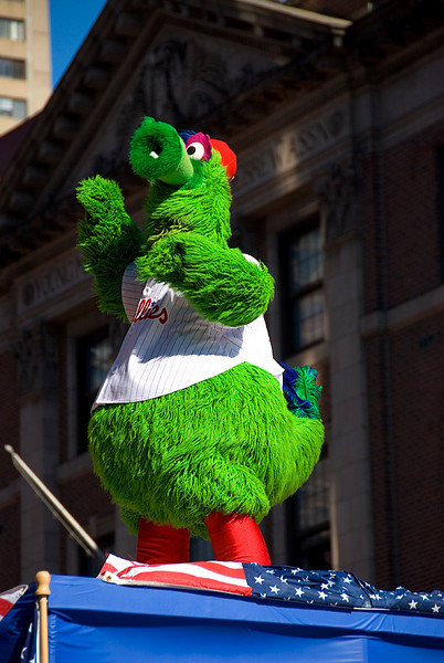 Philadelphia Phillies World Series Victory Parade 2008, Philadelphia, PA. The Phillie Phanatic.