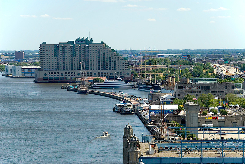 View from the Ben Franklin Bridge, Philadelphia, Penn's landing seaport