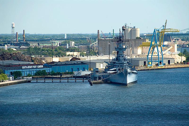 View from the Ben Franklin Bridge, Philadelphia, Battleship New Jersey in the Delaware, docked at Camden, NJ