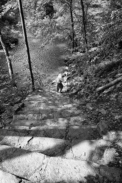 The steps down to the Wissahickon Creek from the Fingerspan Bridge by internationally renowned artist Jody Pinto in Wissahickon Park of Fairmount Park