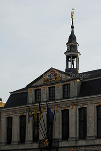 The upper part of the Town Hall in Roeselare, Belgium.