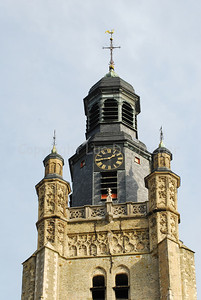 The tower of the Sint Michielskerk in Roeselare, Belgium which houses a real museum of church bells.