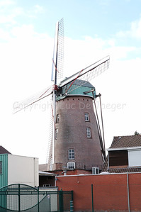 The Kazand Mill (Kazandmolen), the only windmill in the Roeselare-Rumbeke (Belgium) area that is still working today. The mill is built in 1913 and classified in 1944.