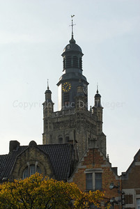 The tower of the Sint Michielskerk in Roeselare, Belgium which houses a museum of church bells.