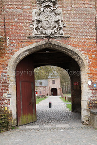 The entrance gate to the Rumbeke Castle. The castle in Renaissance-style was built in the 16th Century. It can be found  within the Sterrebos Park near Roeselare, Belgium.