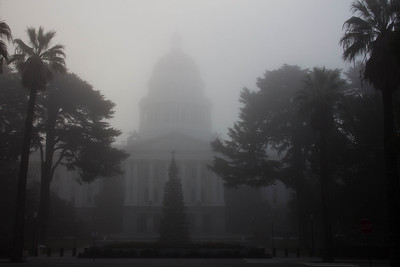 California State Capitol waiting for the fog to lift.