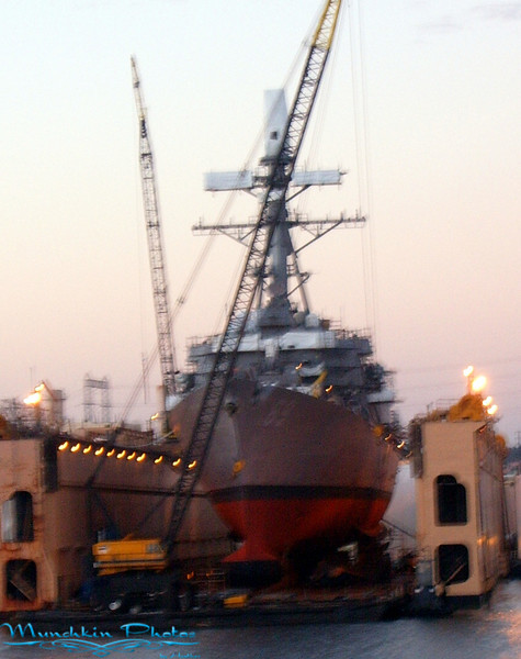 Boat in dry dock (note hard to take pictures at dusk on moving boat)