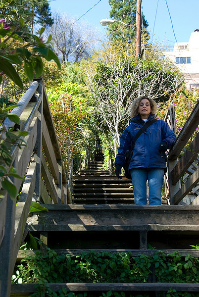 San Francisco, on the way to Coit Tower via Filbert Street Steps (A long way to go up)