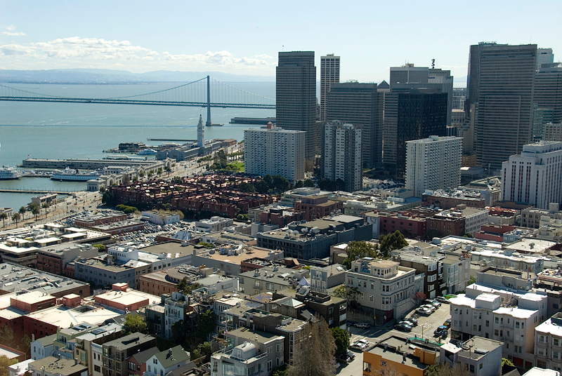 San Francisco - view from Coit Tower, Financial/Embarcadero District, Ferry Building with Tower, and Bay Bridge in the background
