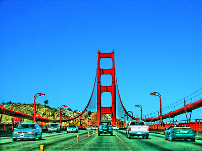 Driving the Golden Gate Bridge, San Francisco, California