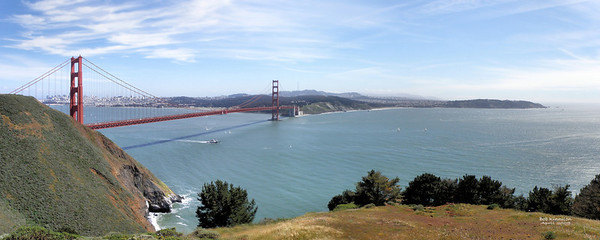 """The Golden Gate""  A beautiful day to take a panoramic of the bay, the bridge and the city.  This makes an outstanding larger print!"