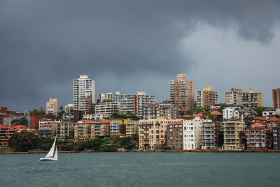 Racing the storm Sydney Harbour