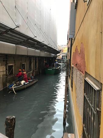 Repairing the collapsing buildings, Venice.