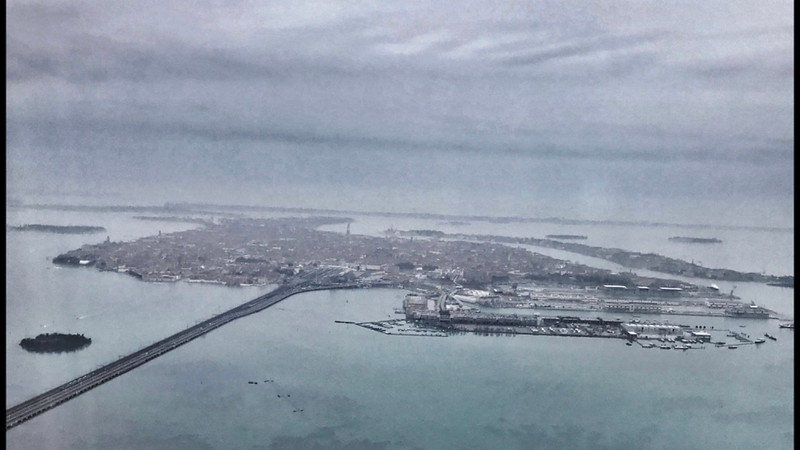 View from British Airways plane descending into Venice Airport.