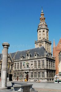 The Landhuis and Belfry in Veurne, Belgium.