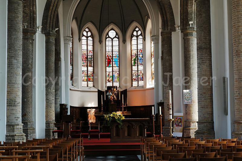 Interior view of the Church of Saint Nicolas (Sint Niklaaskerk) in Veurne, Belgium.