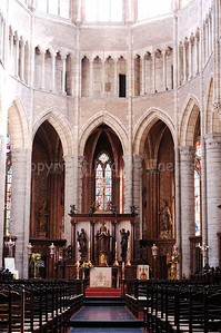 View on the interior of the Saint Walburga Church (Sint Walburgakerk) in Veurne, Belgium.