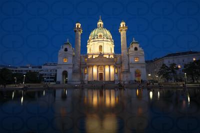 Karlskirche and Pool