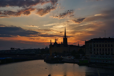 Sunset silhouette in Stockholm
