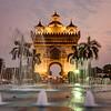 Patuxai monument in Vientiane at sunset
