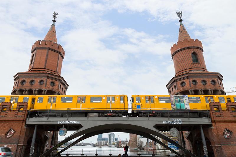 U-Bahn train and Oberbaum Bridge in Berlin