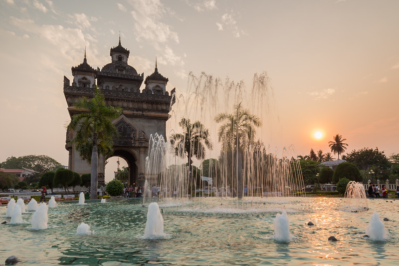Patuxai monument in Vientiane at sunset