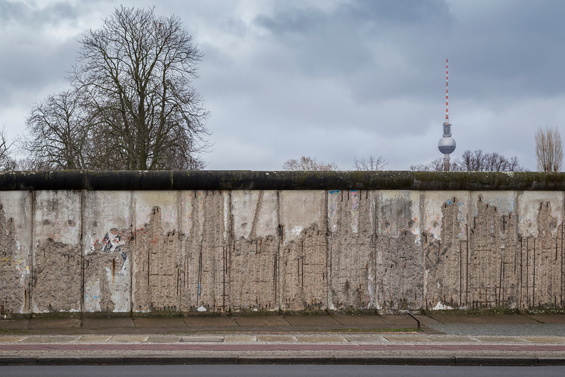 Remains of the Berlin Wall and TV Tower