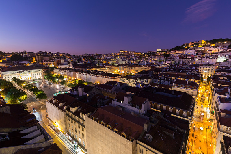 Historical downtown in Lisbon viewed from above at dusk