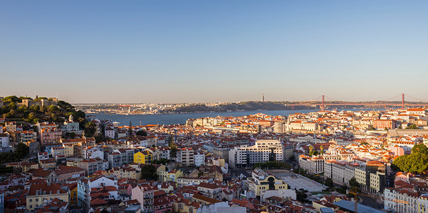Sao Jorge Castle, Cristo Rei, Tagus River, bridge and city view in Lisbon