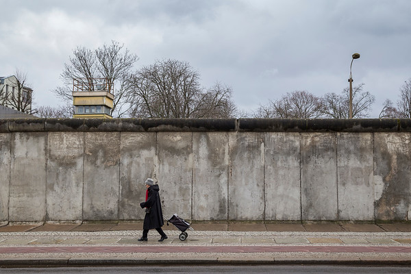 Remains of the Berlin Wall and watchtower