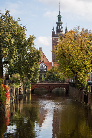 Canal and Love Bridge in Gdansk