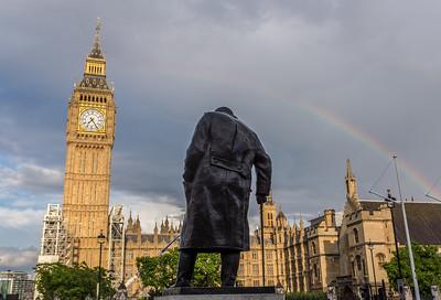Churchill statue in Parliament Square, London, UK