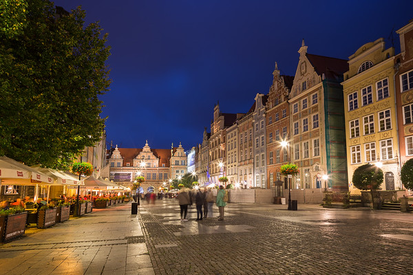 Long Market and Green Gate in Gdansk at dusk