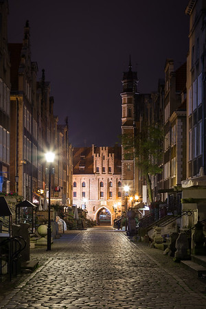 St. Mary's Street and Gate in Gdansk at night