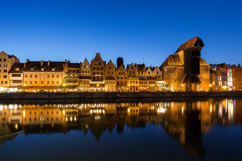 Long Bridge waterfront in Gdansk at dusk
