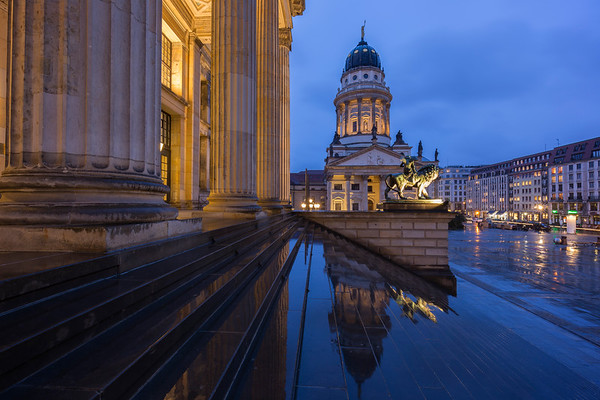 Konzerthaus Berlin and French Cathedral in Berlin at dusk