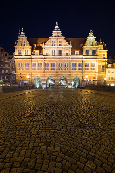 Green Gate in Gdansk at dusk
