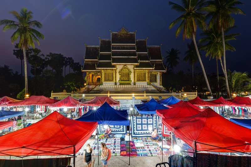 Night market and Haw Pha Bang temple in Luang Prabang