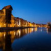 Long Bridge waterfront in Gdansk at dusk