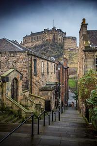 Vennel Steps and Edinburgh Castle
