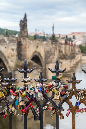 Love locks on a fence in Prague