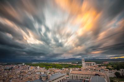 Sunset over Girona, Spain