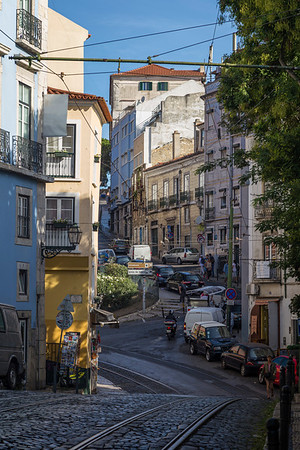 City and street view in Alfama in Lisbon
